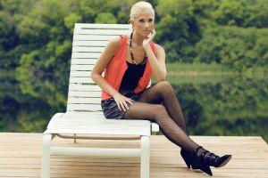 ponytail women blonde fishnet stockings model pantyhose women outdoors berit birkeland miniskirt