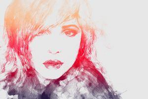 portrait artwork simple background women painting face