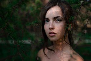portrait blue eyes model freckles face georgy chernyadyev brunette women