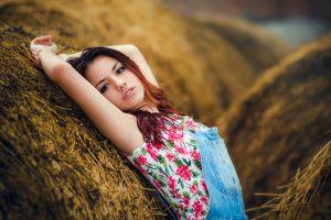 portrait delaia gonzalez  brunette women overalls armpits