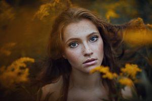 portrait freckles model face women brunette blue eyes depth of field