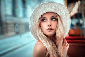 portrait hat women hazel eyes blonde model depth of field