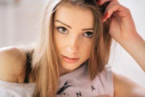 portrait hazel eyes face blonde alexey tsyganov women