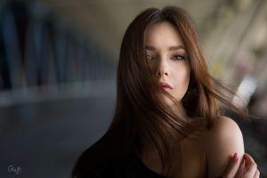 portrait julia hair in face face women