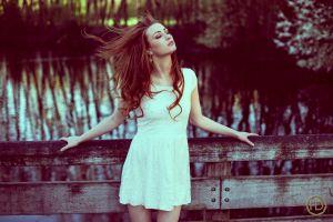 portrait model closed eyes women dress river