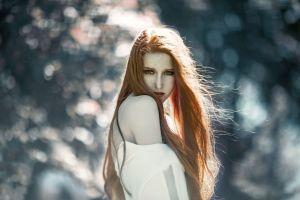 portrait model redhead long hair women face