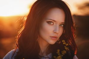 portrait model women sunset long hair looking at viewer brunette angelina petrova