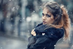 portrait smoky eyes brunette ponytail alessandro di cicco women makeup long hair dyed hair