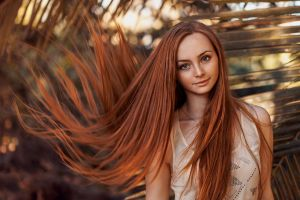 portrait straight hair long hair model redhead women