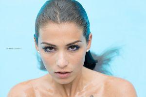 portrait wet body wet hair face open mouth women