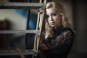 portrait women blonde face