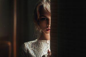 portrait women blue eyes juicy lips anastasia scheglova model georgy chernyadyev dress