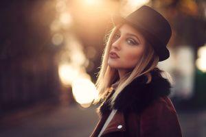 portrait women face blonde hat