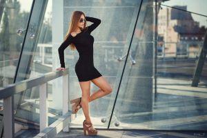 portrait women with glasses women with shades women brunette hands in hair oleg petroff black dress dress standing