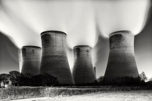 power plant cooling towers monochrome technology industrial photography