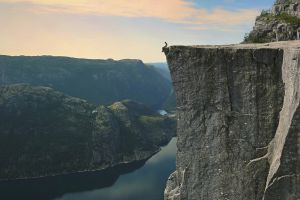 preikestolen mountains norway fjord landscape sitting water nature cliff summer