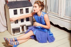 profile women sitting blue dress open mouth model blonde lily james