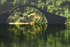 propeller bridge water forest reflection helicopters circle palm trees stones digital art flying nature lake