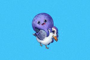purple animals minimalism octopus cyan background cyan seagulls blood humor