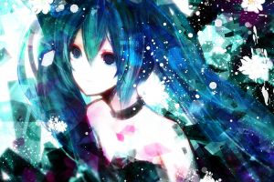 purple eyes vocaloid anime anime girls hatsune miku blue hair