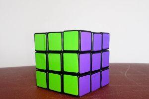 purple green rubik's cube