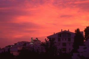 purple sky city sunset