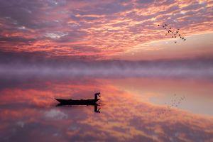 purple sky reflection skyscape boat lake mist sunset