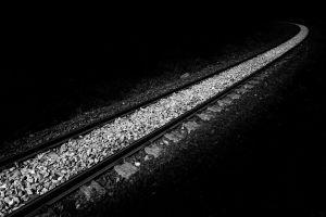 railroad track railway monochrome