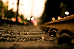 railway lights dusk bokeh