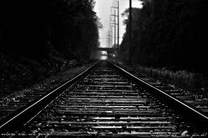 railway monochrome railroad track dark