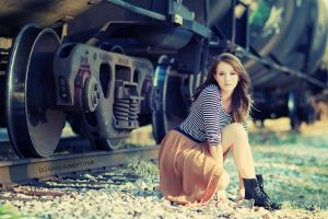 railway women outdoors train