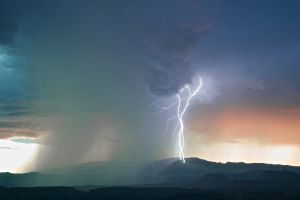 rain lightning storm landscape hills clouds sky nature mountains
