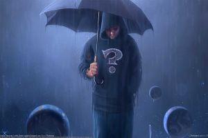 rain men umbrella artwork