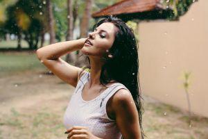 rain wet hair aurela skandaj model women white tops brunette
