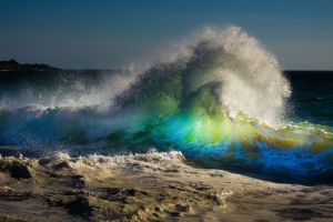 rainbows beach water waves