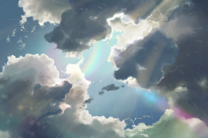rainbows clouds the garden of words anime