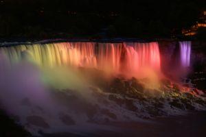 rainbows water niagara falls night waterfall