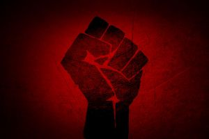 red background artwork fists