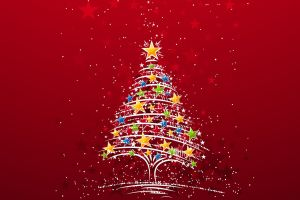 red background christmas tree simple background christmas artwork