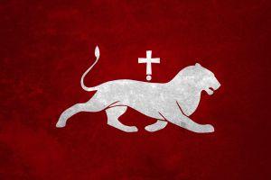 red background flag white
