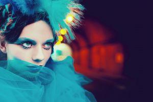 red bokeh tunnel eyeshadow fashion model cyan