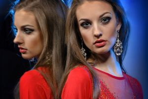 red clothing pink lipstick glamour women glamour gray eyes reflection long hair women alla berger model juicy lips face brunette looking at viewer portrait