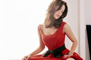 red dress brunette women