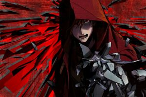red eyes open mouth guilty crown anime hoods