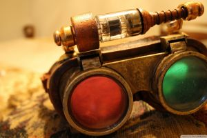 red glasses green steampunk