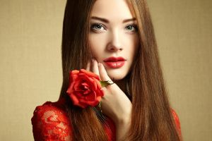 red lipstick flowers women blue eyes long hair