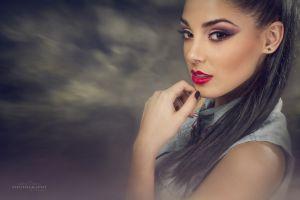 red lipstick women brunette makeup brown eyes model