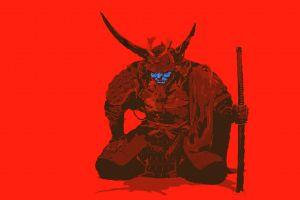 red simple background artwork minimalism sword samurai