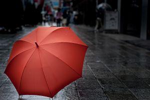 red umbrella urban indoors