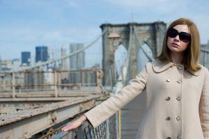 redhead actress white coat women with glasses coats glamour women with shades brooklyn bridge celebrity karen gillan new york city glamour women